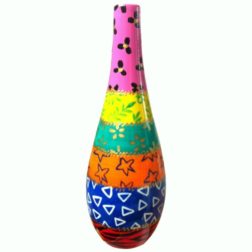 (Keep Olive Oil or Vinegar fresh in this painted Ceramic Bottle with Pourer - the oil bottle is decorated in the Africa design. Gift boxed for housewarming presents)