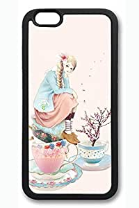 Anime Girl With Cup Cute Hard Cover For iPhone 6 Case (4.7 inch) TPU Black Cases