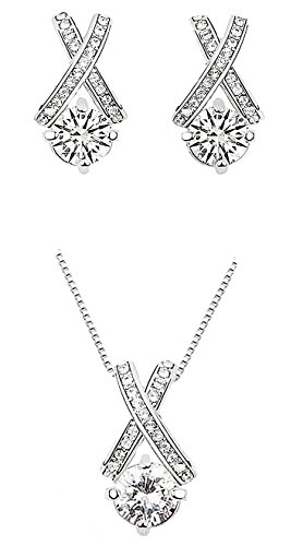 Majesto 18k White Gold Plated X Crossing Pendant Necklace and Stud Earrings Jewelry Set for Women Teen Girls Stud Earrings Jewelry Set