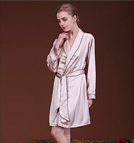 ZC&J Alta calidad primavera y el otoño de moda pijama de manga larga Chándal Sra seda de manga larga camisón de seda / bata, albornoz fresco y ligero,light tan,M light tan