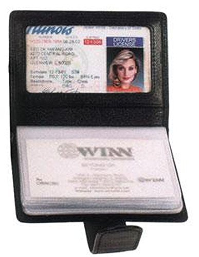 Black Cowhide Nappa Leather Mini Business Card Holder II Color: Black by Winn by Winn