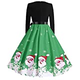 Forthery Women Christmas Dress Vintage Flared Swing Dress Retro A Line Party Dress(Green, US Size M = Tag L)