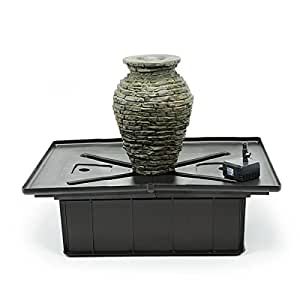 Aquascape 58060 Mini Stacked Slate Urn Fountain Kit with Pump and Basin, 18-1/2 Inches Tall