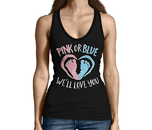 Junior's Pink Or Blue We'll Love You Tank Top (Black, Large) (Peek A Boo Pink Or Blue Shirt)