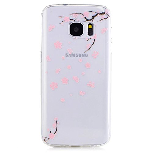 KSHOP Samsung Galaxy S7 TPU Soft Case Transparent TPU Silicone Cover Bumper ShellColorful Pattern Design Clear Crystal Protective Back Bumper Shell-Peach Blossom