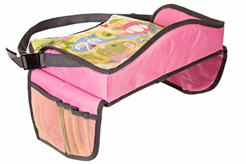 Childrens Travel Tray – Play Tray for Stress Free Car Bus Train and Plane Journeys – Small – Pink – By...