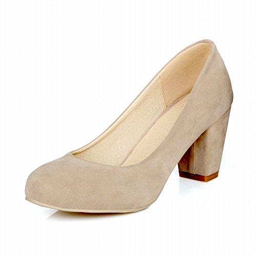Carolbar Womens Cuff Fashion Elegance Charms High Chunky Heel Dress Pumps Shoes Beige QQErN