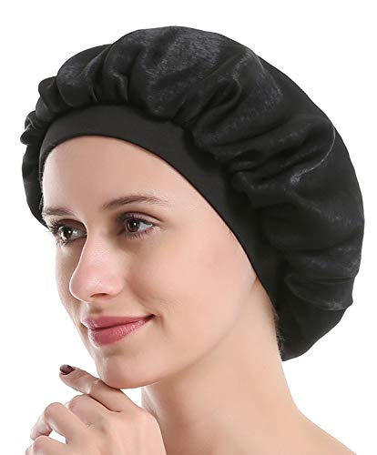 (Satin Silk Bonnet Sleep Cap - Black Soft Wide Band S Women Night Hat for Long Curly Natural Hair Salon Silk Scarf Chemo Patient Slouch)