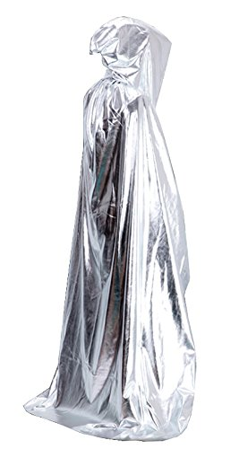[MEYKISS Adults Cape Halloween Costume Deluxe Cloak Silver] (Adult Vampire Halloween Costumes)