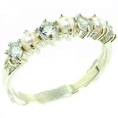 925 Sterling Silver Cultured Pearl & Aquamarine Womans Eternity Band Ring - Size 10 (Eternity Pearl Band Ring)