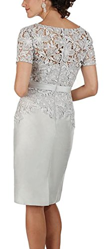 Gowns the Mother Short Chellen Sleeves Bride Evening Knee Lace of Dresses Greay Length YqwP1wSx