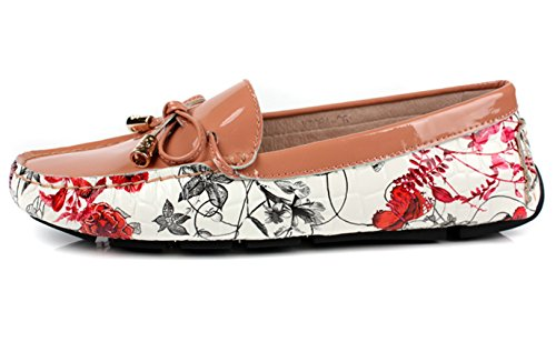 Leather MedzRE Floral Penny Shoes Print Pink Women's Flats Khaki Loafers Elgeant in zzHq46rf