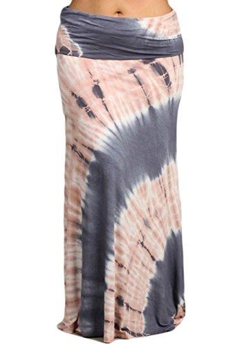 Womens Plus Size Gray & Pink Hand Dyed Tie Dye Boho Maxi Skirt (XXL)