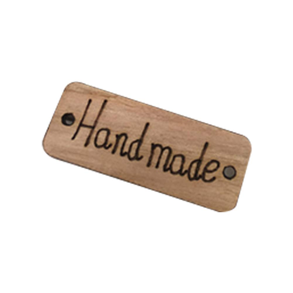 Hemore Color de Madera protección del Medio Ambiente Doble Agujero de Madera a Mano Etiqueta botón de Madera 1 Paquete (100) El Regalo Ideal para los