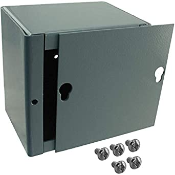 BUD Industries JB-3955-KO Steel NEMA 1 Sheet Metal Junction Box with Knockout and Lift-off Screw Cover Gray Finish 6 Width x 6 Height x 4 Depth 6 Width x 6 Height x 4 Depth