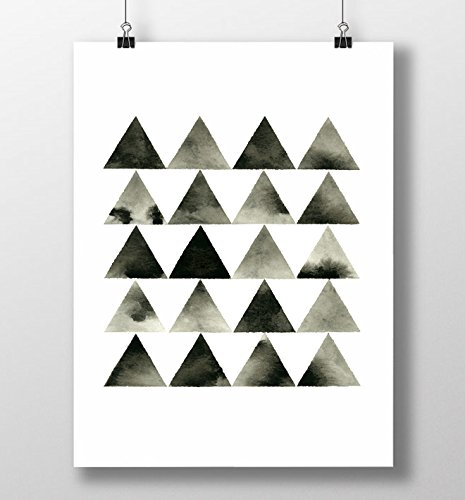 Modern art black white monochrome triangle artwork minimal print geometric print