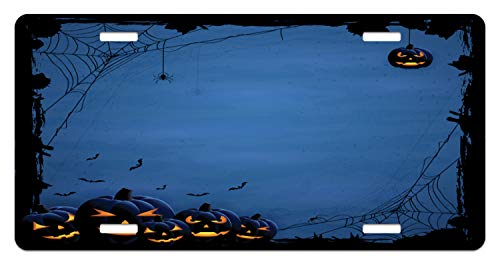 Lunarable Halloween License Plate, Horror Halloween with Pumpkins Spider and Bat Silhouettes on Blue Background, High Gloss Aluminum Novelty Plate, 5.88