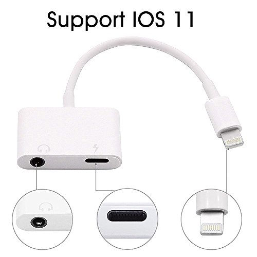 iPhone Adapter, Charm sonic iPhone Headphone Adapter 2 in 1 Lightning to 3.5mm Audio Jack and Charger Adapter for iPhone 7/7 Plus/8/8plus/X, Support IOS 11