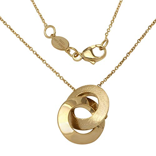 w Gold Italian I Love You Engraved Ring Circles Necklace, 16+4