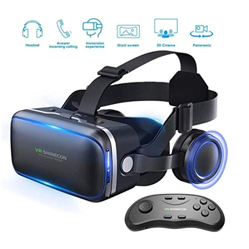 t 3D Glasses, Lightweight Virtual Reality Headset for VR Games & 3D Movies Pack with Remote Controller for iPhone and Android Smartphones ()