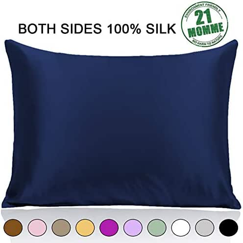 100% Pure Mulberry Silk Pillowcase Standard Size 21 Momme 600 Thread Count for Hair and Skin With Hidden Zipper, Hypoallergenic Soft Breathable Both Sides Silk Pillow Case, 20×26inches, Navy Blue