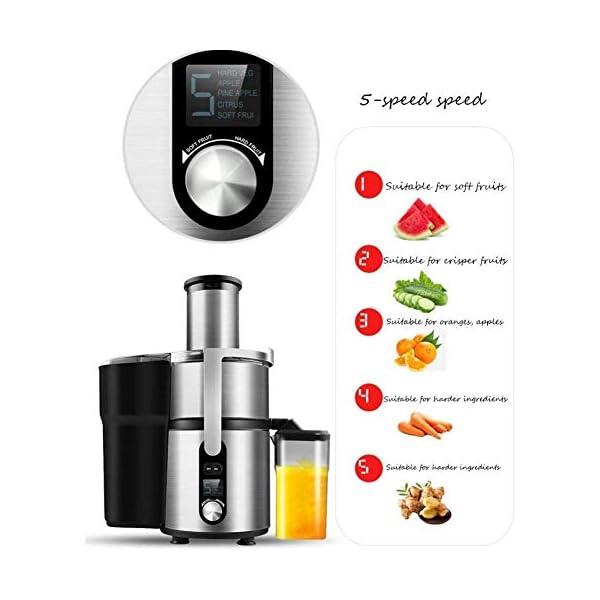 SMX Juicer Macchina con 5 Speed Control, Big Mouth Scivolo di Alimentazione, centrifuga, Facile da Pulire, Acciaio… 3 spesavip