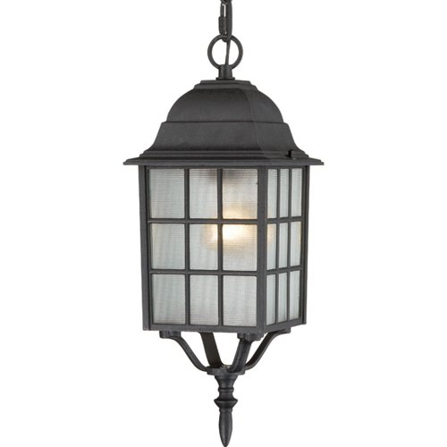 Nuvo Lighting 60/4913 Adams One Light Hanging Lantern 100 Watt A19 Max. Frosted Glass Textured Black Outdoor Fixture ()