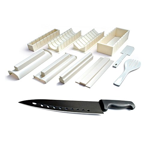 Sushi Master Sushi Kit - Easy to Use DIY 10 Piece Sushi Making Kit with 8 Inch Non Stick Sushi Chef Knife (Sushi Master compare prices)