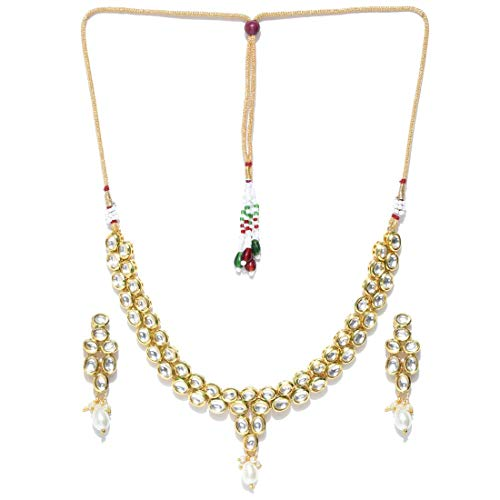 cce5a772a Jewels Galaxy Attractive Kundan Studded Exquisite Design Gold Plated  Traditional Necklace Set for Women/Girls