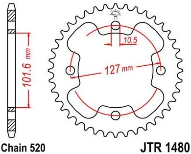 JT High Carbon Steel Rear Sprocket JTR1480.37 Teeth fits Polaris 500 Predator E 2x4 03-04