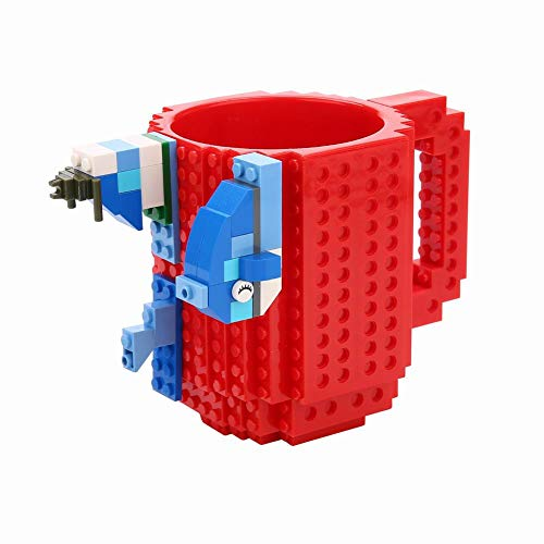 Build-on Brick Mug -Fubarbar 12 oz Coffee Cups Funny Tea Mug Beverage Cup Puzzle Mug Building Bricks enjoy Novelty Creative DIY Building Blocks Office Pen - Desk Ounce 12 Mug