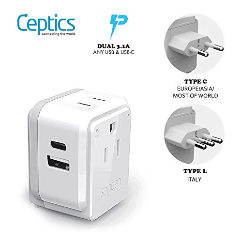 Italy, Chile, Rome Power Plug Adapter Travel Set, Ceptics, Safe Dual USB & Usb-C 3.1A – 2 Usa Socket – Compact…