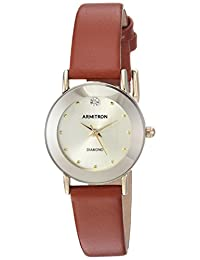 Armitron Women's 75/2447CHGPBN Diamond-Accented Gold-Tone and Brown Leather Strap Watch