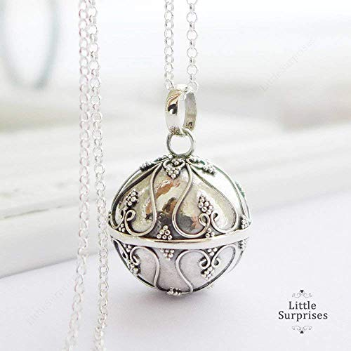 - 20mm Angel Caller Chime Bell Hearts Pendant Sterling Silver Harmony Ball 30