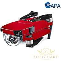 SopiGuard APA Red Satin Precision Edge-to-Edge Coverage Vinyl Skin Controller Battery Wrap for DJI Mavic Pro