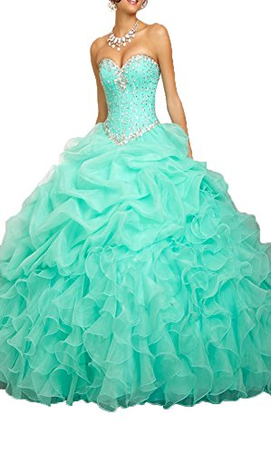 Cheap Masquerade Dresses (OnlyBridal Women's Beaded Organza Ball Gown Sweet 16 Dresses Quinceanera Dresses)