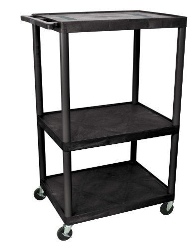 LUXOR LE54-B Video Table Presentation Endura AV Cart with 3 Plastic Open Shelves, Black Luxor Open Shelf Table