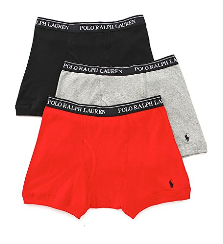 Polo Ralph Lauren Classic Cotton Boxer Brief 3 Pack  M  Black   Red   Grey