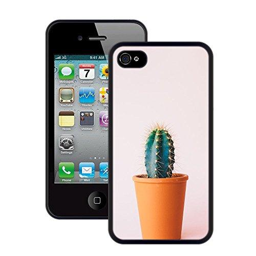 Kaktus | Handgefertigt | iPhone 4 4s | Schwarze Hülle