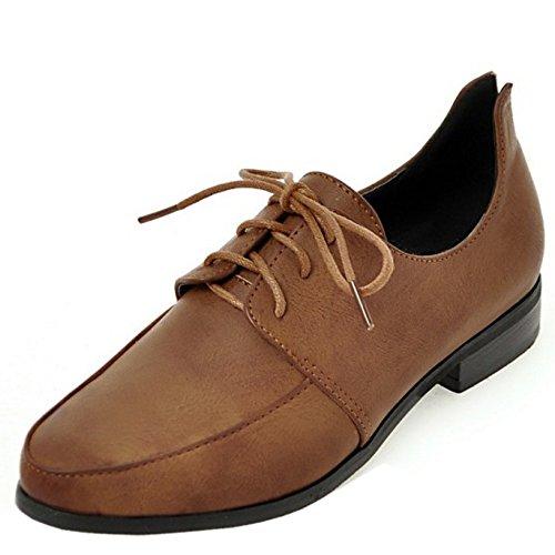 TAOFFEN Women Casual Flat Shoes Lace Up Pumps Shoes Brown