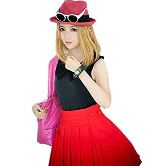 Customize Cosplay Costume Pokemon XY Serena Outfit including Hat Top Skirt Socks  sc 1 st  Amazon UK & Customize Cosplay Costume Pokemon XY Serena Outfit including Hat Top ...