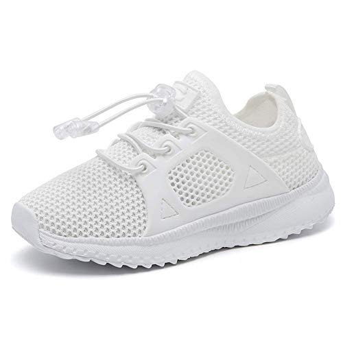 Kids Breathable Running Shoes Lightweight Slip On Sneaker for Boys Girls(White,13.5 M US Little Kid)