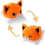 TeeTurtle | The Original Reversible Fox Plushie | Patented Design | White and Orange | Show Your Mood Without