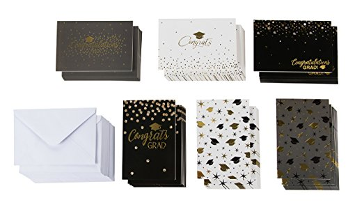 (48-Pack Graduation Cards - Congratulations Greeting Cards Bulk Set, Blank Cards, 2019 Graduation Party Favors, Envelopes Included, 6 Gold Foil Styles, 4 x 6)
