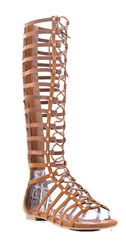 Candice 57M Flat Caged Gladiator Sandals Chestnut 8