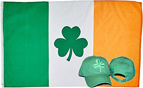 ALBATROS 3 ft x 5 ft Shamrock Ireland Irish Flag with Green Shamrock Clover Hat Cap for Home and Parades, Official Party, All Weather Indoors Outdoors