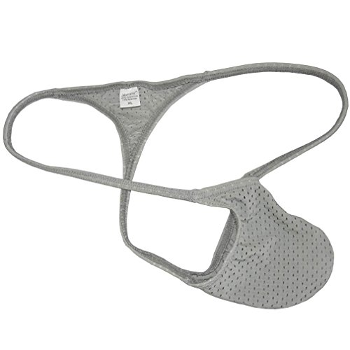 (JAXFSTK Men's Breath Holes Micro Thong Sexy Mini Bikini Underwear Elastic String T-Back Tanga Coffee M)