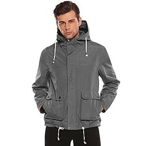 Bifast Men's Hooded Long Sleeve Lightweight Windbreaker Waterproof Outdoor Jacket Active Trench Coat