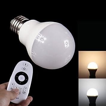 E27 6 W 400 - 450LM luz fría + luz cálida LED Smart Bombilla con 2.4 GHz mando a distancia: Amazon.es: Electrónica