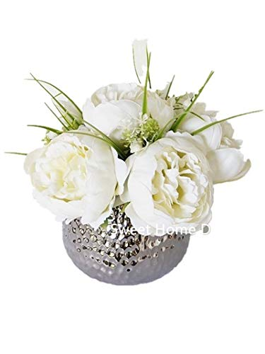 Sweet Home Deco Silk Peony Arrangement in Silver Ceramic Vase Table Flower Home Decor Wedding Centerpiece (White)